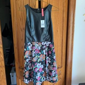 Leather topped dress with floral bottom